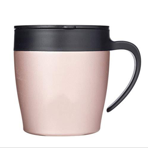 AlohMsdg roestvrijstalen koffiemok met deksel, hittebestendig, vaatwasser- en magnetronbestendig