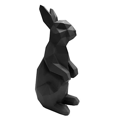 Present Time - Statue Lapin Debout Noir Origami