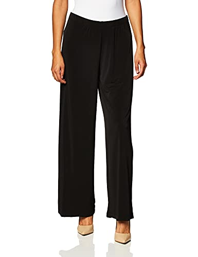 AGB Women's Petite Soft Knit Pant with Wide Leg Palazzo, Black, Petite/Large