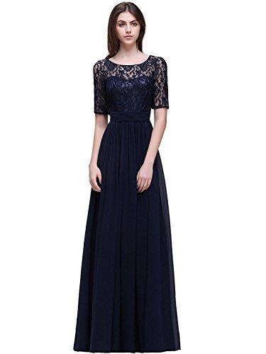 MisShow Damen Elegant Spitzen Abendkleid Abschlusskleider Brautjungferkleid Navy Blau