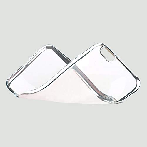 Schutzhülle für iPhone 6G / 6S, stoßfest, Silikon, kristallklar, Rückseite aus TPU, silberfarbener Chromrand