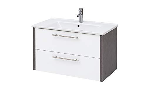 Schildmeyer Trient Waschtisch, Holzdekor, Weiß glanz/Esche grau Dekor, 85 x 45,5 x 54,5 cm (B/T/H)