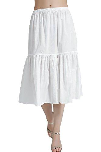 Mujer Enagua de Algodón Antiestática Larga Combinación para Vestido Antideslizante Plisado Plain Falda Blanco Marfil Negro