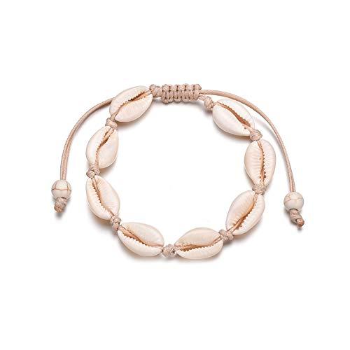 duoying Shell Anklets Set for Women Teen Girls Boho Multilayer Anklet Bracelets on Beach Handmade Adjustable Anklet Chain Pendant Foot Jewelry Summer for Gift