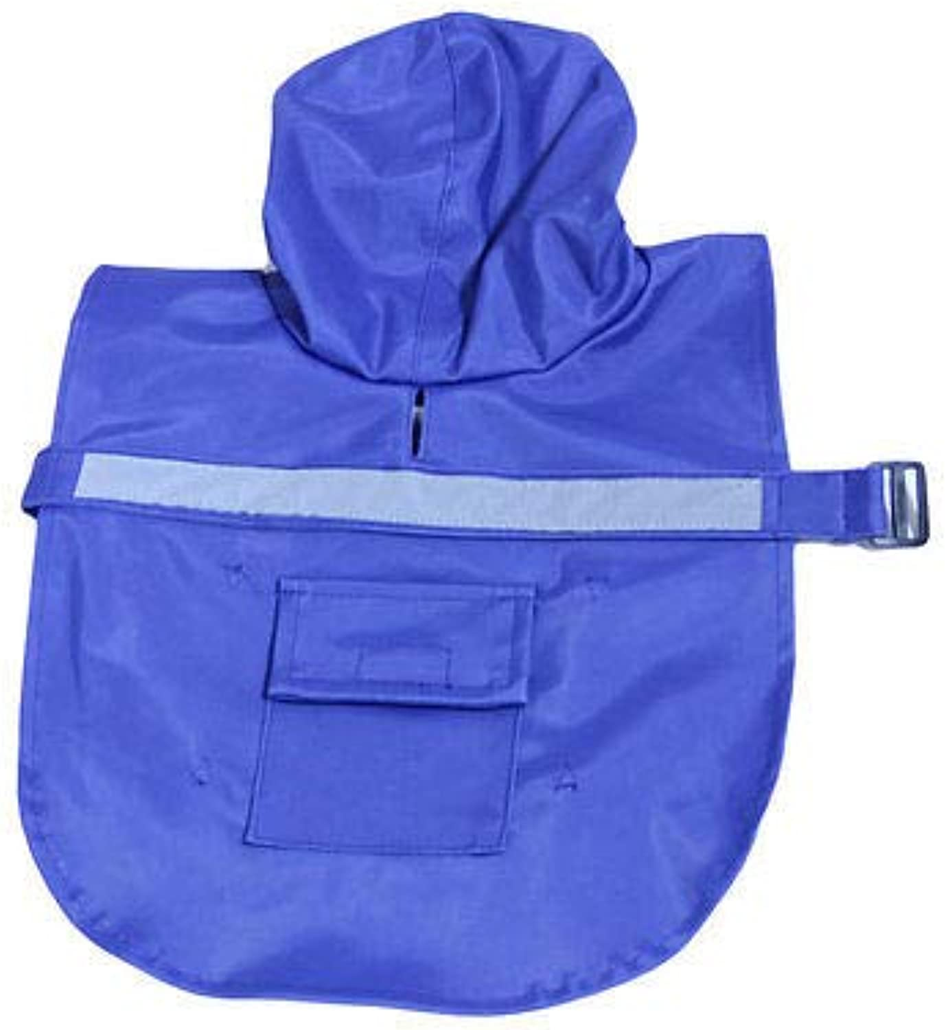 FidgetGear Dog Rain Coat Waterproof Vinyl Slicker Reflective Jacket Pet Outdoor Clothes bluee XXL(30 )