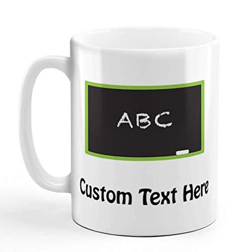 N\A Taza de café Personalizada 11 onzas Pizarra ABC Maestro Escuela educación Taza de té de cerámica Texto Personalizado aquí