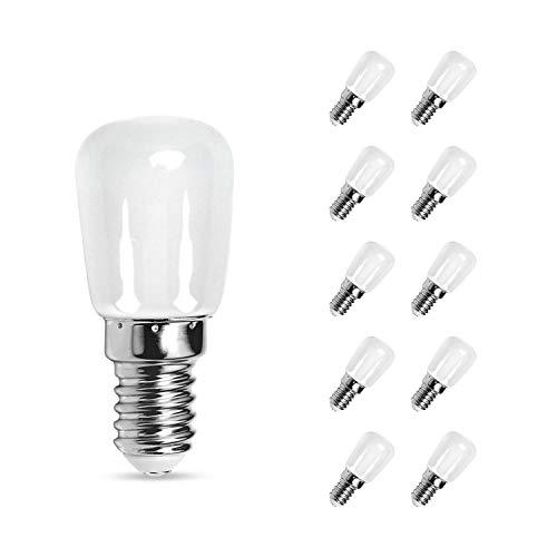 Aigostar Frigorifico Bombilla LED T26 E14,4 W (equivalente a 27W), Blanco Frío 6500K, 10 unidades