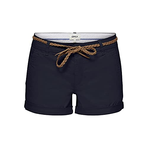 Only ONLEVELYN Life REG Chino Shorts PNT Pantalones Cortos, Azul Oscuro, 42 para Mujer