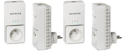 Netgear 4 x XAV2501 Powerline Ethernet-Adapter (200 Mbit/s, mit integrierter Buchse, Homeplug AV, 4 Stück)