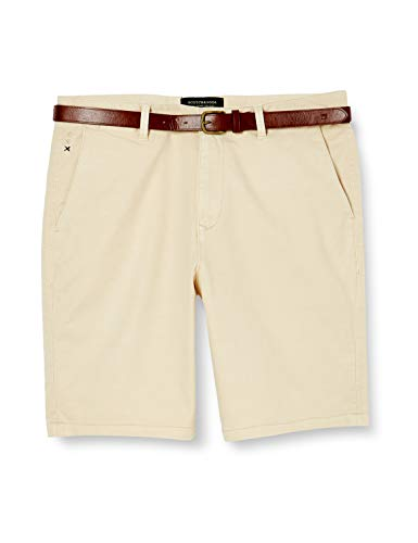 Scotch & Soda Herren Chino Baumwollstretch Shorts, Beige (Raffia 0486), W28(Herstellergröße:28)