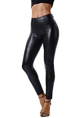 FITTOO Mujeres PU Leggins Cuero Brillante Pantalón Elásticos Pantalones para Mujer Negro L