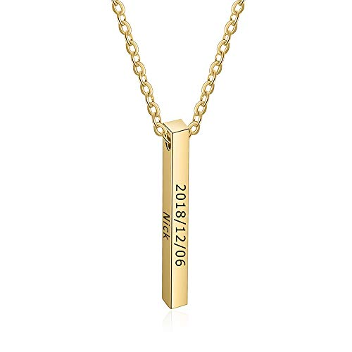 Gaosh Collar personalizado Collar con nombre de cadena para mujer Collar de acero inoxidable con barra Colgante Regalo para aniversario Aniversario