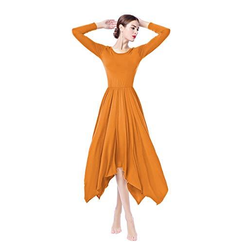 IWEMEK Damen Liturgisches Lob Kleid mit Langarm Frauen Asymmetrische Dancewear Ballettkleid Partykleid Gebet Kleid Falten Maxikleid Party Anbetung Lyrical Ballsaal Tanzkleid Kostüm Orange XL