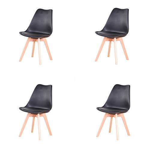 4er Set stühle Esszimmerstühle mit Massivholz Buche Bein, Retro Design Gepolsterter Stuhl Küchenstuhl Holz (Black(Schwarz)-4)