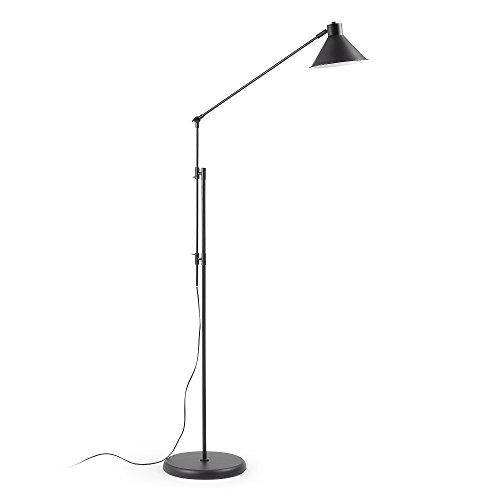 Kave Home - Lámpara de pie Dione negra de acero
