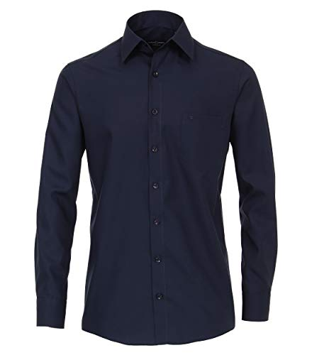 CASAMODA Herren Businesshemd Uni Comfort Fit graues Dunkelblau 45