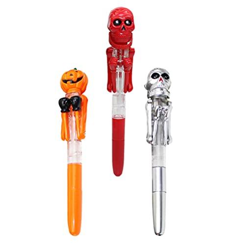 TOYANDONA 3 Piezas de Bolígrafos de Halloween de Dibujos Animados de Calabaza Calavera Cabeza Fantasma Bolígrafo Creativo Multicolor Suministros Escolares Accesorios para Fiestas Grandes