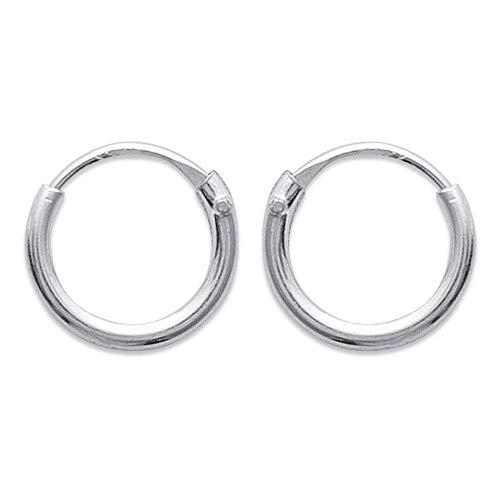 Pendientes de aro, plata de ley 925/1000, 8 mm de diámetro, 1,5 mm de ancho