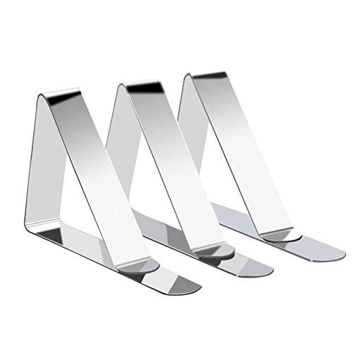 Rybtd Tischtuchklammer, 12 Stück Metall Tischdeckenclip Edelstahl Tischtuchclip, für Esszimmrtische zuhause und Picknicks im Freien geeigenter Tischdeckenhalter(Silber)