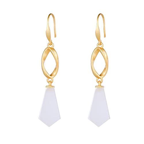 WOZUIMEI Retro Ethnic Style Earrings S925 Sterling Silver Gold-Plated Nephrite Long Earrings Female Elegant Personality Fashionable Geometric Earringss925 Silver