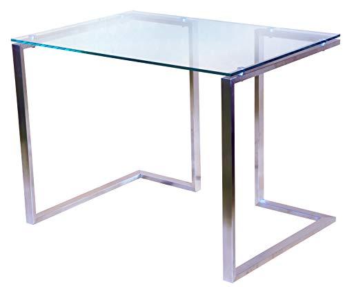 CHYRKA® Bürotisch Computertisch Beistelltisch Edelstahl Schminktisch Moderne Design Glas Schreibtisch (100x60 cm)