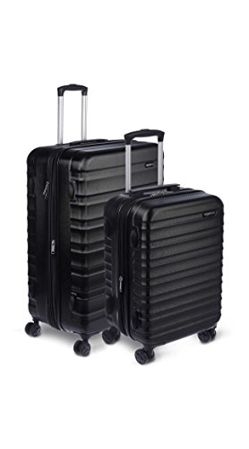 AmazonBasics 2 Piece Hardside Spinner Travel Luggage Suitcase Set - Black