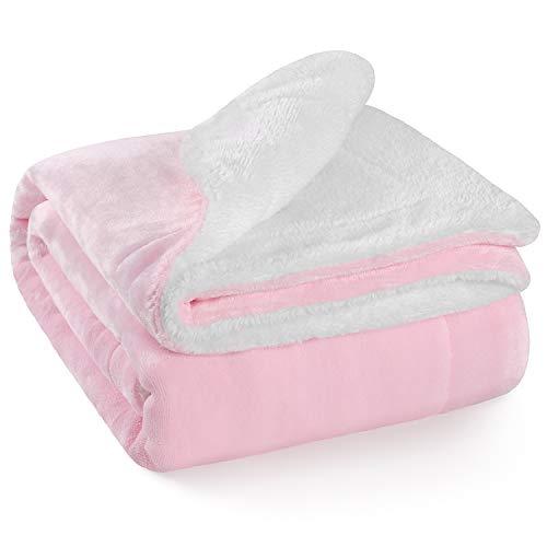 "TILLYOU Reversible Plush Sherpa Fleece Baby Blanket for Boys, Girls, Kids, Toddler, Infant, Newborn, 40""x50"" - Fuzzy Fluffy Warm Throw Blanket for Toddler Bed, Crib, Stroller, Bassinet, Pet, Pink"