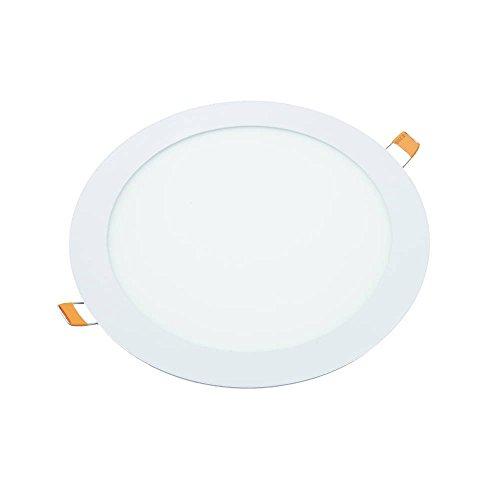 JANDEI - Downlight Led 18W Redondo Plano De Empotrar Luz Blanca Fría 6000K, Aluminio Aro Blanco Mate, Para Hueco De 200 205 mm Blanco