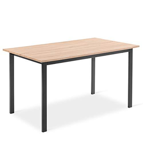 Mc Haus KENIA - Mesa Nórdica Rectangular Comedor de madera Natural MDF con estructura de Metal...