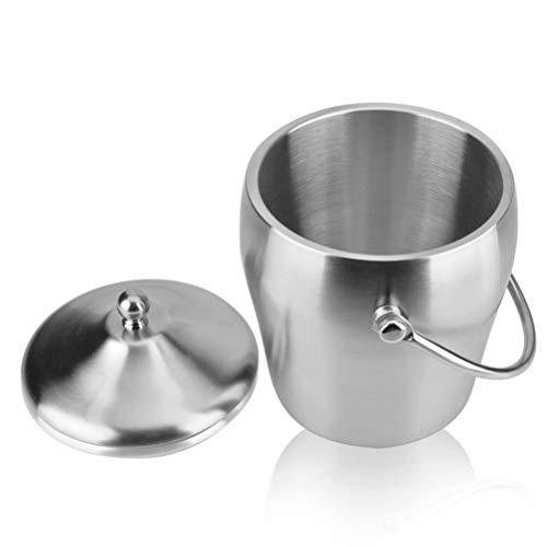 Nologo Isolierte Eiskübel Doppelwand-Champagne Bucket Hält EIS Gefroren Längerer - 2 Liter Edelstahl Eiskübel for Parteien - Mit Deckel Und Eiszange