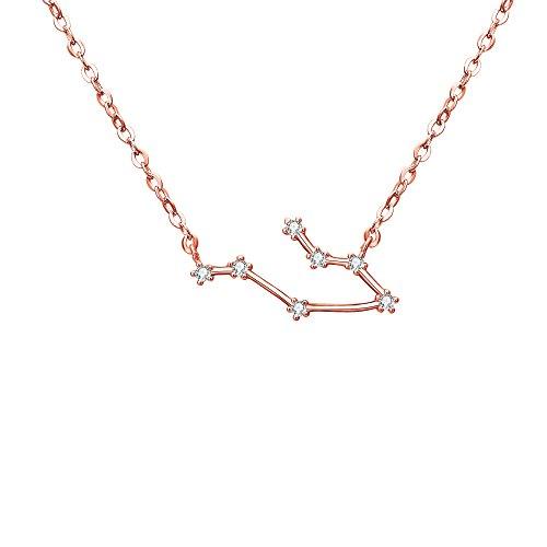 Clearine Costellazione Collana Argento a Colore Rosa-Oro'Gemelli' Argento Delicato Zirconia Oroscopo zodiacale Speciale Collana Ciondolo