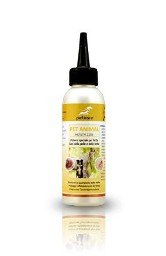 Peticare Polvere Speciale della ferite per Cani, Cavalli, Gatti - Trattamento delle ferite da morso, Abrasioni, accelera l emostasi, allevia prurito, 100% Biologico - petAnimal Health 2106 (70 ml)