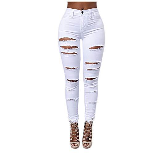 Damen Hosen Stretch Long Hose Hotpants zerrissen High Waist Jeanshose Skinny Hochbund Hose Jeanshose Zerrissen Ripped Hose hohe Taille Stretch Skinny Bleistifthose Cutted Knee Legging (Weiß, L)