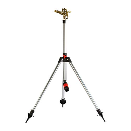 Grafner Impulsregner mit Teleskop-Stativ, für große Flächen bis 900 m², stufenlose Reichweiteneinstellung bis 15 Meter, 360° Radius, mit Dreibein-Teleskopstativ (58-91 cm) und 1/2 Zoll Klick-Anschluss