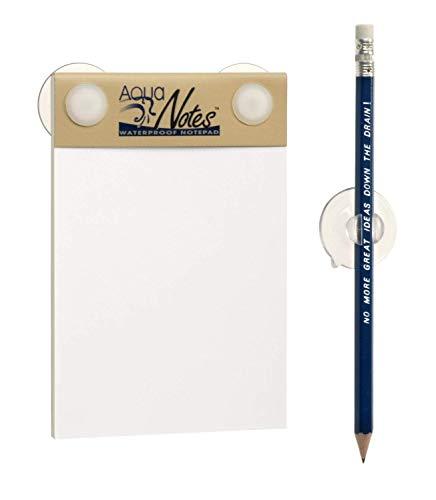 Einzigartiges Papier - Wasserabweisender Notizblock für Die Dusche mit Stifthalter - Ungewöhnliches, lustiges für Männer und Frauen - Wasserdichte Notizzettel, Aqua Notes Waterproof Notepad