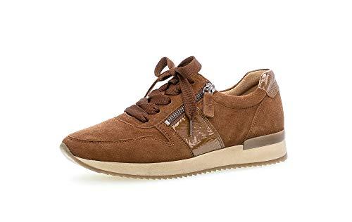 Gabor Damen Sneaker, Frauen Low-Top Sneaker,Best Fitting,Reißverschluss,Optifit- Wechselfußbett, Sportschuhe Freizeit,New Whisky,40 EU / 6.5 UK