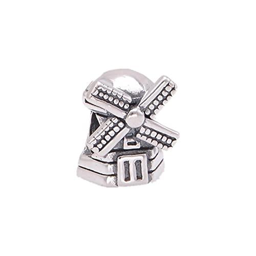Joyería De Plata De Ley 925 para Mujer Abalorios De Molino De Viento Se Ajustan A Pulseras Pandora Europeas Collares Fabricación De Joyas DIY