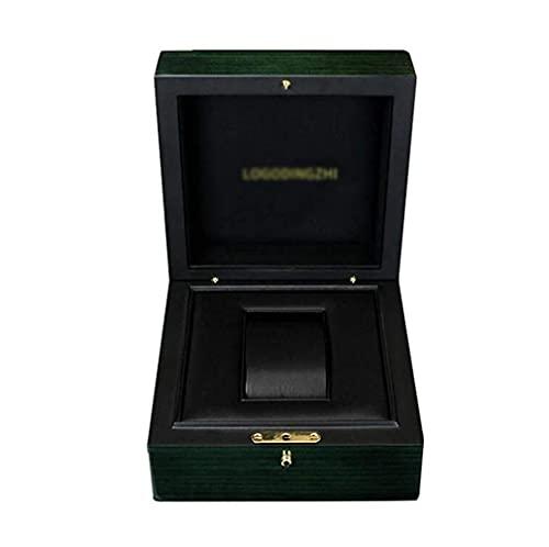 Caja de Reloj de Madera, Organizador Elegancia y Almohadas de Almacenamiento extraíbles Hebilla de Metal con Cerradura Verde
