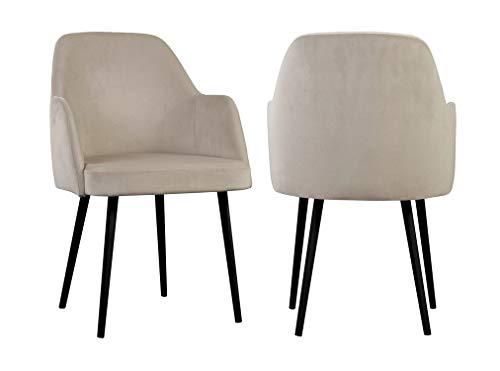 Une paire (2 pièces) de chaises scandinaves contemporaines en velours - Bourgogne