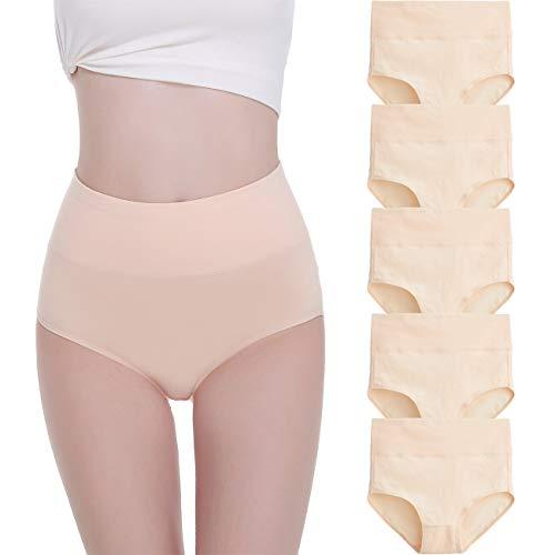 FALARY Bielizna damska z bawełny, 5 sztuk, majtki z wysoką talią, majtki w talii, 2XL, kolor skóry