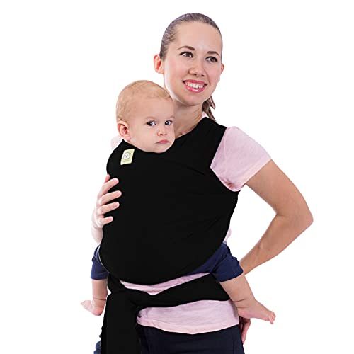 Baby Wrap Carrier - All in 1 Stretchy Baby Sling - Baby Carrier Sling - Baby Carrier Wraps - Baby Carriers for Newborn, Infant - Baby Holder Straps - Baby Slings - Baby Sling Wrap (Trendy Black)