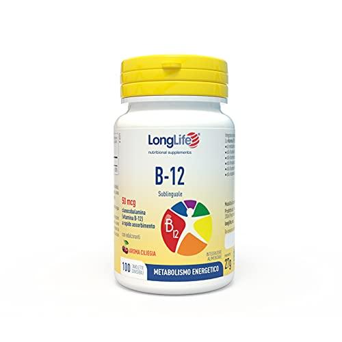 B-12 50 mcg LongLife | Integratore di vitamina B12 sublinguale | Aroma Ciliegia | Elevato Assorbimento | 100 tav. divisibili | Doping Free, Gluten Free, Vegan