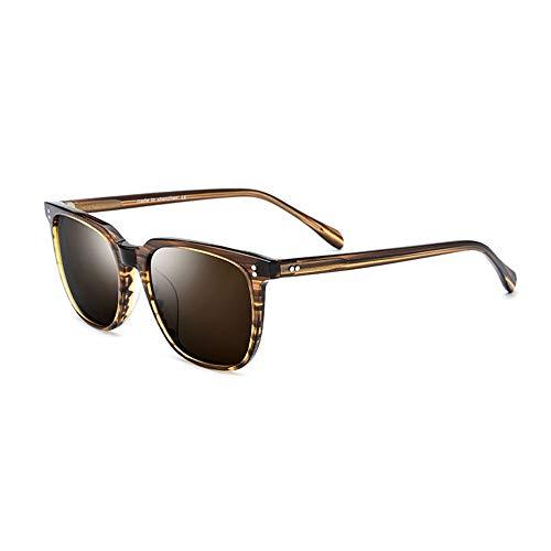 Bradoner Placa De Grado Alto Gafas De Sol Polarizadas Gafas De Sol Retro Redondas for Hombre Protección UV400 (Color : Brown)