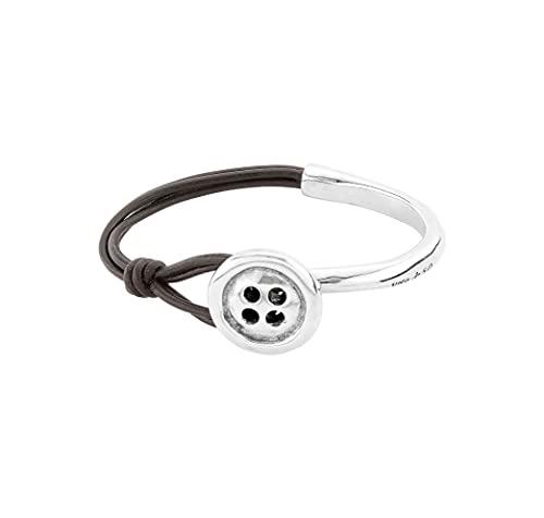 Pulsera Uno de 50 PUL1993MARMTL0M - pulsera combinada en piel y metal bañado en plata, semirígida.