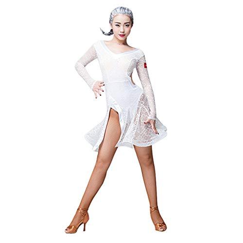 Traje De Baile Latino Mujer Sexy Cha Cha Dance Vestir Cordn Cuello En V Manga Larga Rumba Tango Actuacin Disfraz (Color : White, Size : XL)