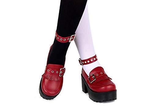 LIGEIAOGIAO Zapatos de Cosplay de Lolita para niñas Zapatos de Tacones Altos para Mujer-Vino Tinto_39