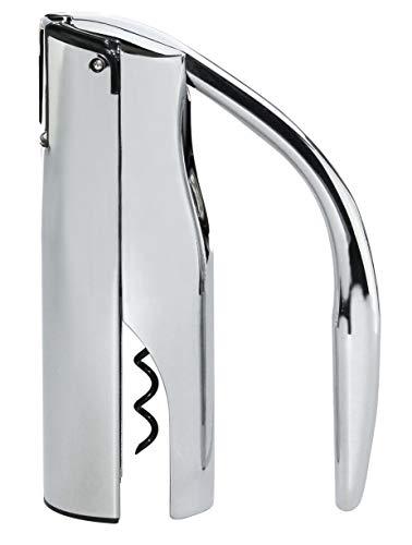 Vinturi Vertical Lever Corkscrew Wine Opener with Built-in Foil Cutter and Non-stick Cork Spiral, Silver