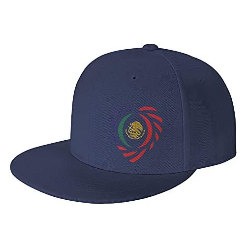 Gorra de béisbol mexicana americana Patriot unisex para viajes al aire libre, protección solar, Azul marino/flor y brillo, 7