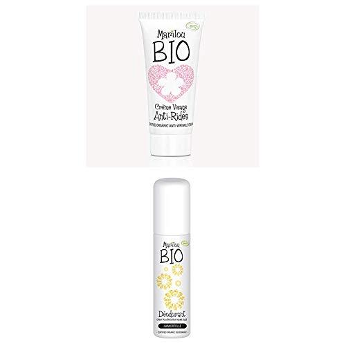 Duo de produit de beauté MARILOU BIO - Gamme Classic - Crème anti rides - Déodorant Immortelle
