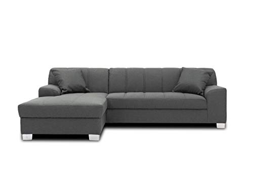 DOMO collection Capri Ecksofa | Eckcouch in L-Form, Polsterecke Sofa Garnitur, dunkelgrau, 239x152x75 cm